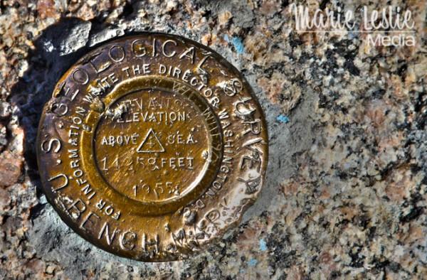 Mt. Evans geological survey marker
