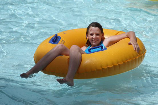 floating on the lazy river