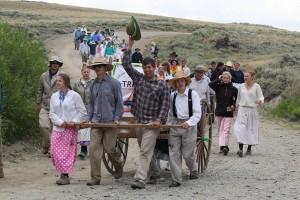 Arriving at Rock Creek Hollow at the Mormon Pioneer Handcart Trek