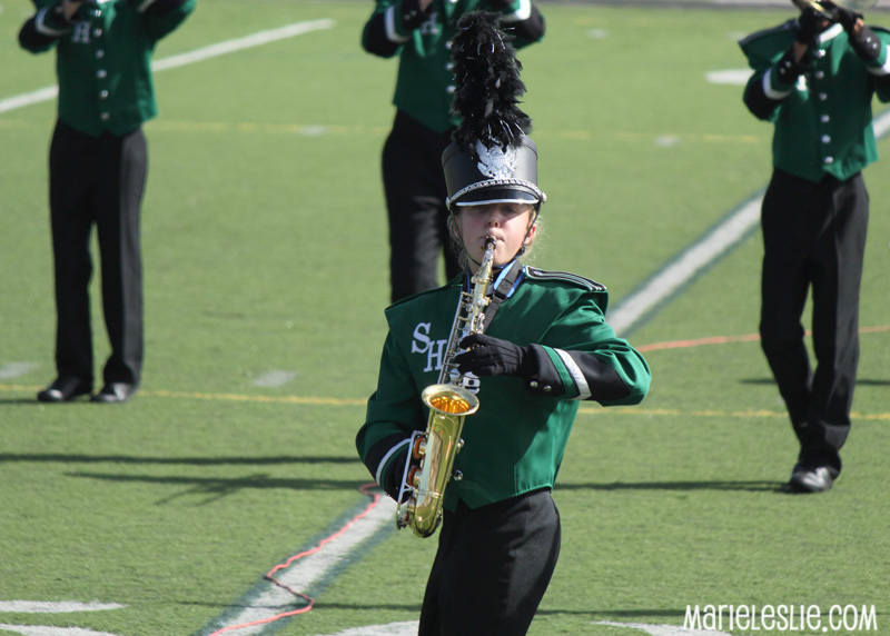 saxophone player marching band field show