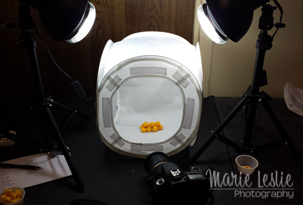 using a light tent to photograph popcorn